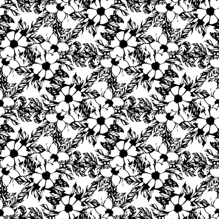 Postcard with branches and leaves. Stylish and modern postcard. Seamless pattern with black-and-white flowers of apple.