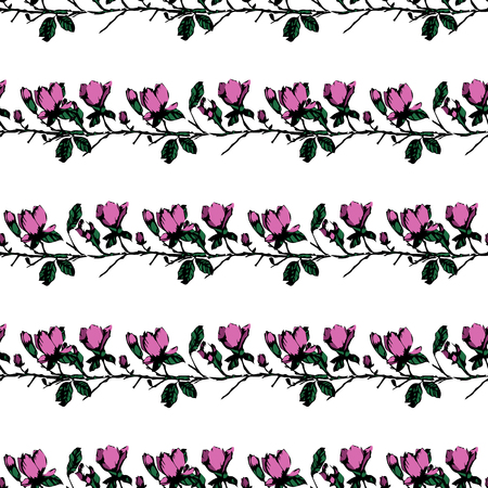 Postcard with branches and leaves. Stylish and modern postcard. Seamless pattern with pink magnolia flowers. Ilustrace