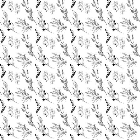 Postcard with branches and leaves. Seamless pattern with black and white plants. Ilustrace