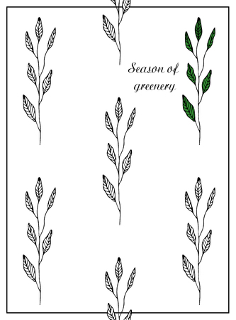 Season of greenery. Postcard with branches and leaves. Stylish and modern postcard. A pattern with black and white flowers. Ilustrace