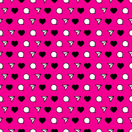 Seamless pattern in the style of social networks. Pink background.