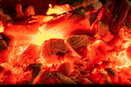 hot coals in the grill close up