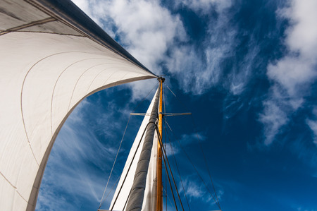ketch: headsail against blue sky