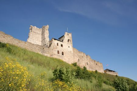 Ruins of a fortress on a hill in Rakvere, Estonia photo