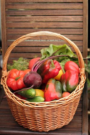Basket with vegetables photo