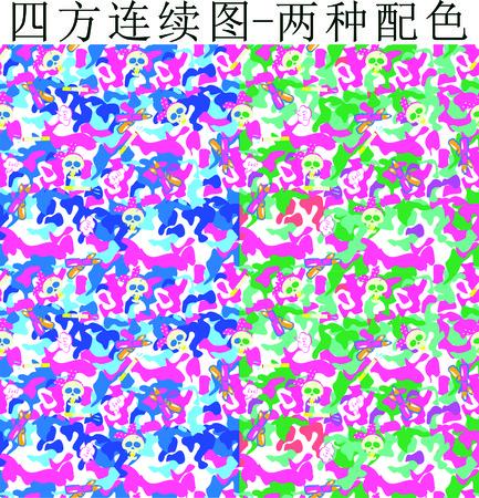 digital printing: Animal cartoon Camo digital printing Illustration
