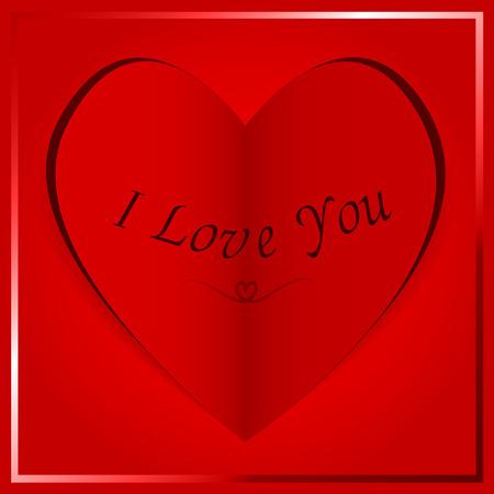folded paper: folded paper heart card - I Love You Illustration