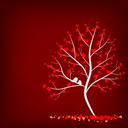 love tree with two birds on red background Vector