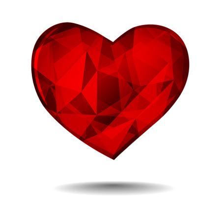 coeur diamant: diamant coeur rouge isol� sur fond blanc