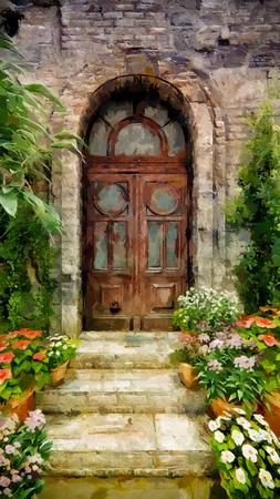 home door entrance architecture decoration luxury design beautiful exterior / stroke painting