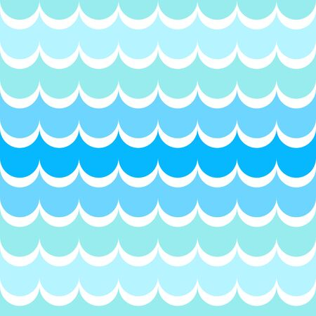 Seamless pattern of waves on water. Blue shades of sea