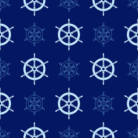 Boat steering wheel seamless pattern. Sailing and marine background
