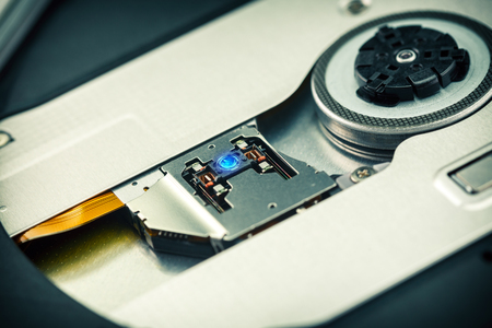 Close Up - Laser head lens of cd dvd dvdrw optical drive Stock Photo - 120558656