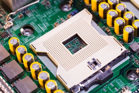 Close Up - CPU socket on a computer motherboard Stok Fotoğraf