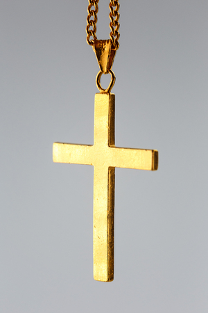 Golden cross pendant on the gold chain ( 24K pure gold necklace christian) Imagens