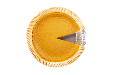Top View - Fresh delicious pumpkin pie with piece missing on white background ( Isolated pie dessert pumpkin, sweet potato)