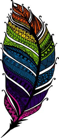 animal head: Feather illustration hand drawn abstract art Illustration