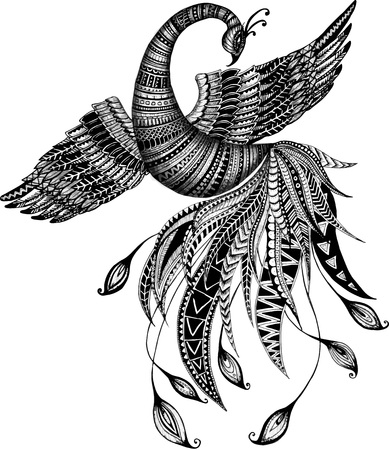 doodle art clipart: stylized phoenix, firebird, bird, fairytales bird