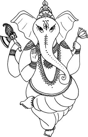 asian elephant: Hindu elephant God Lord Ganesha, patron of arts,  sciences. Vintage decorative vector elements isolated. Tattoo, yoga, spirituality, textiles.