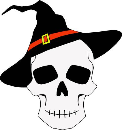 necromancy: vector Halloween illustration with skull in halloween hat Illustration