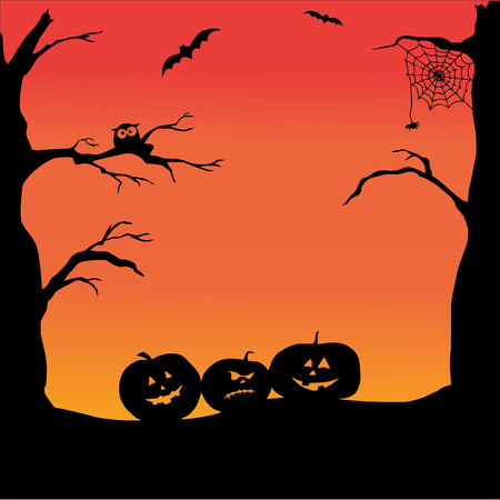 Fondo de Halloween con calabazas espeluznantes