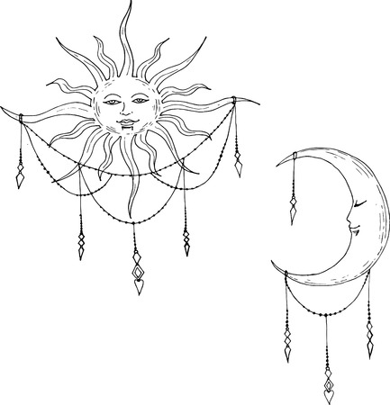 lenin: Vector illustration of Moon and Sun with faces
