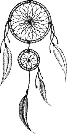 Hand-drawn mandala with feathers. Ethnic illustration, tribal Illusztráció