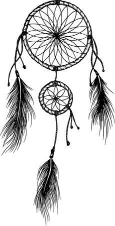 Hand-drawn mandala with feathers. Ethnic illustration, tribal 向量圖像