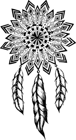 dreams: Hand-drawn mandala  with ink dreamcatcher with feathers. Ethnic illustration, tribal