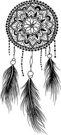 catcher: Hand-drawn mandala dreamcatcher with feathers. Ethnic illustration, tribal, American Indians traditional symbol.