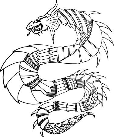 japanese dragon: Dragon Tattoo black and white Illustration Illustration
