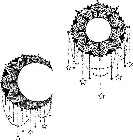 sol y luna: Dibujado a mano atrapasueños mandala con plumas. Ilustración étnico, tribal, indios símbolo tradicional americana.