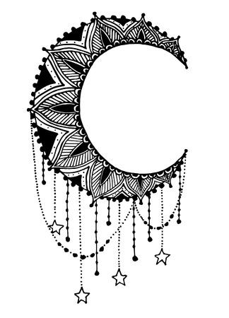 sun moon: Vector Beautiful Deco Black Mandala, Patterned Design Element, Ethnic Amulet
