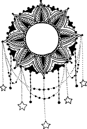 Hand-drawn moon sun mandala dreamcatcher with feathers. Ethnic illustration, tribal, American Indians traditional symbol. Vettoriali