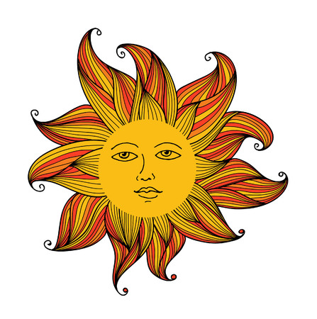 Vector illustration of Sun with face