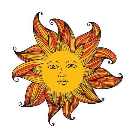 Vector l'illustrazione di sole con la faccia