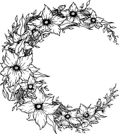 Croissant de lune décorée avec des fleurs sur fond blanc