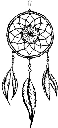 Hand-drawn mandreamcatcher  with feathers. Ethnic illustration, tribal
