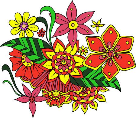 brie: Set of  doodle flowers