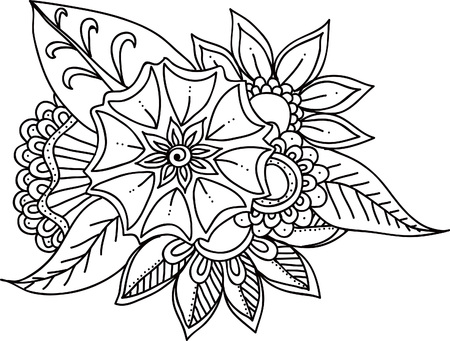 botanics: Set of black doodle flowers Illustration