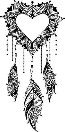 abstract heart background: doodle heart dreamcatcher ethnic