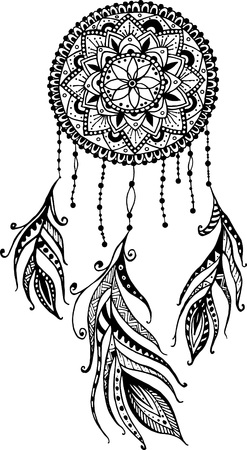 Hand-drawn mandala dreamcatcher with feathers. Ethnic illustration, tribal, American Indians traditional symbol.