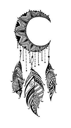 Hand-drawn moon mandala dreamcatcher with feathers. Ethnic illustration, tribal, American Indians traditional symbol.