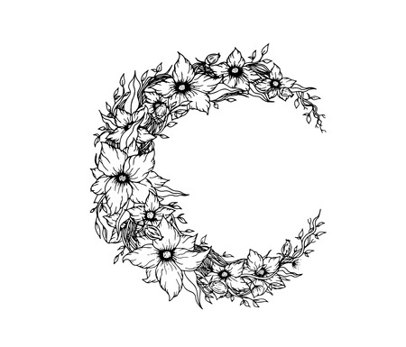 Crescent moon decorated with flowers on white background