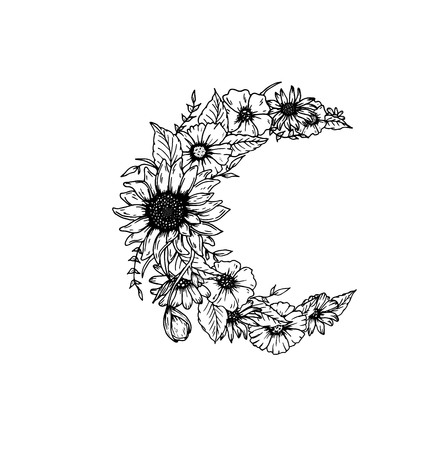 botanics: Crescent moon decorated with flowers on white background