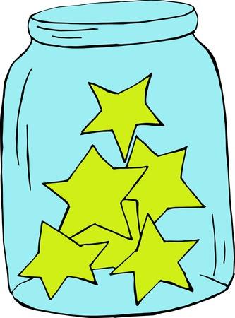 """buonanotte: illustrazione vettoriale di vaso con sleepi? g sorridente luna nel bicchiere della staffa, farfalle, stelle. Sfondo carino infantile con il testo """"Buona notte"""". disegno del fumetto brillante."""