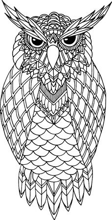 owl illustration: OWL vector handdrawn illustration in zentangle style