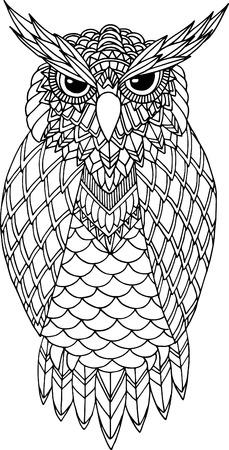 Zentangle スタイルのフクロウ ベクトル手描きイラスト