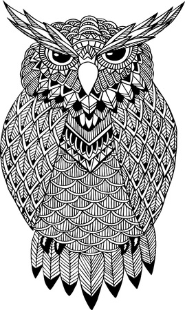 wise owl: OWL vector handdrawn illustration in zentangle style