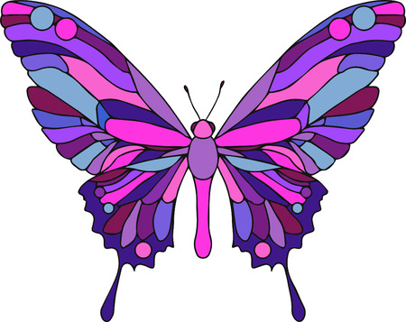 butterfly: Hand drawn ornamental butterfly vector outline illustration